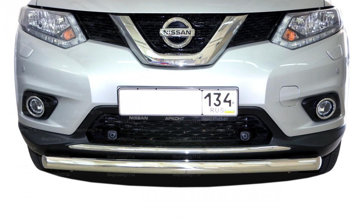 Защита переднего бампера 60 мм Nissan X-trail 2015. Nissan X-Trail (2015-)