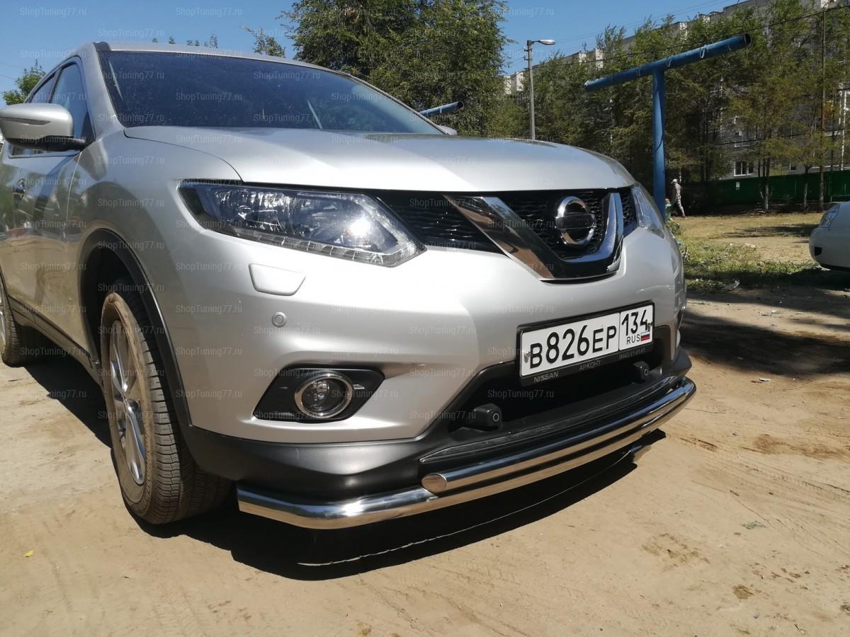 Защита переднего бампера двойная 60/42 мм.Nissan X-Trail (2015-)