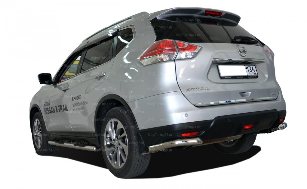 Защита заднего бампера угловая 60 мм большие Nissan X-Trail (2015-)