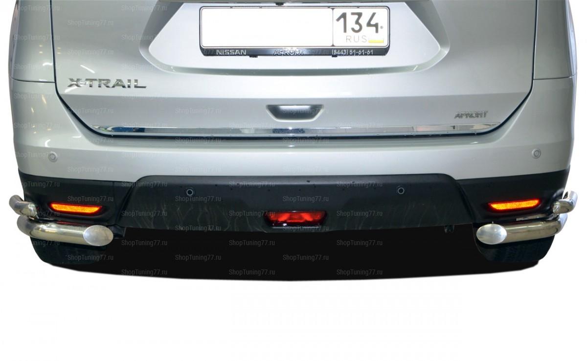 Защита заднего бампера угловая двойная 60/42мм Nissan X-Trail (2015-)