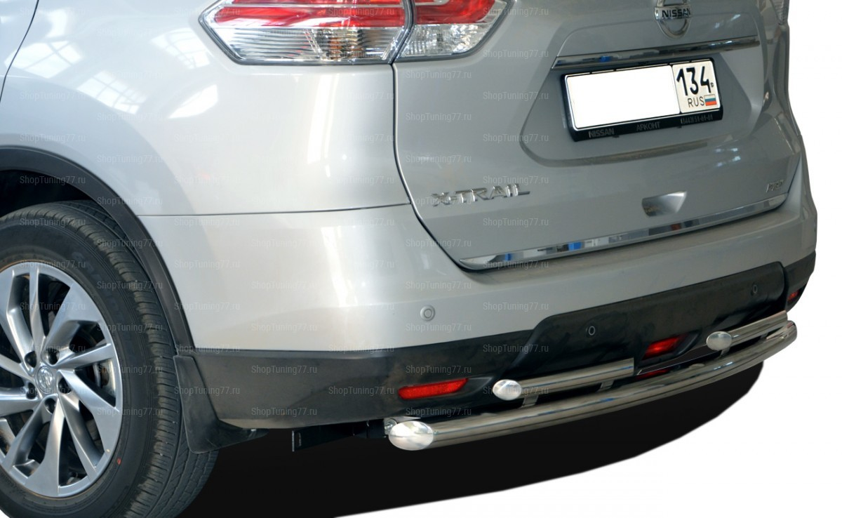 Защита заднего бампера 60/42 мм Nissan X-Trail (2015-)