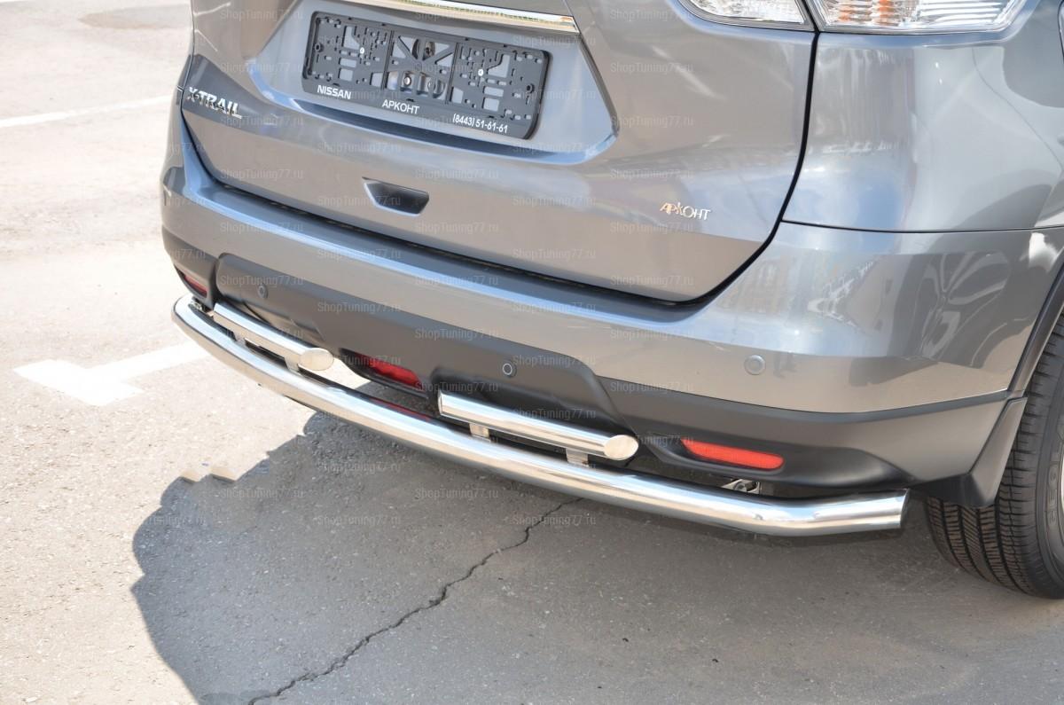Защита заднего бампера Nissan X-trail  двойная Nissan X-Trail (2015-)