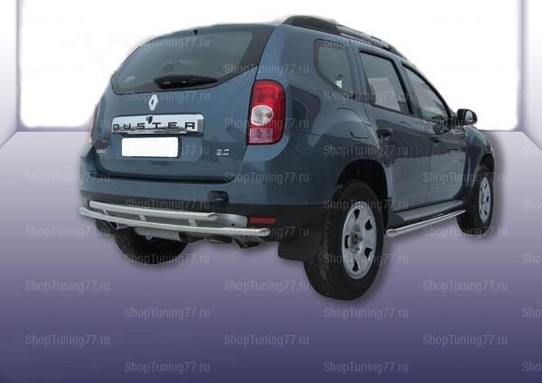 Защита заднего бампера двойная 60/42 мм Renault Duster (2011-)
