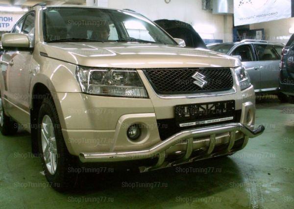 Защита переднего бампера с доп. защитой 60 мм Suzuki Grand Vitara (2008-)