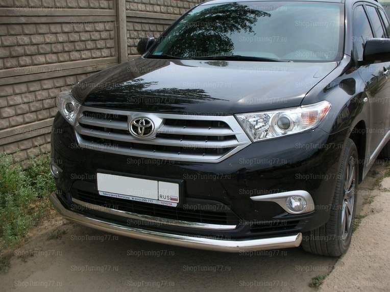 Защита переднего бапера нижняя 60 мм Toyota Hightlander (2010-2014)