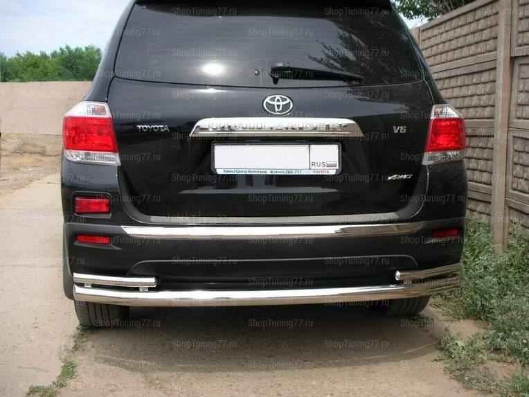 Задняя защита труба двойная 60/42мм Toyota Hightlander (2010-2014)