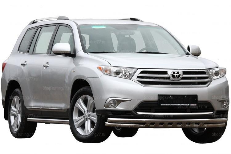 Защита переднего бампера двойная с защитой картера 60/60 Toyota Hightlander (2010-2014)
