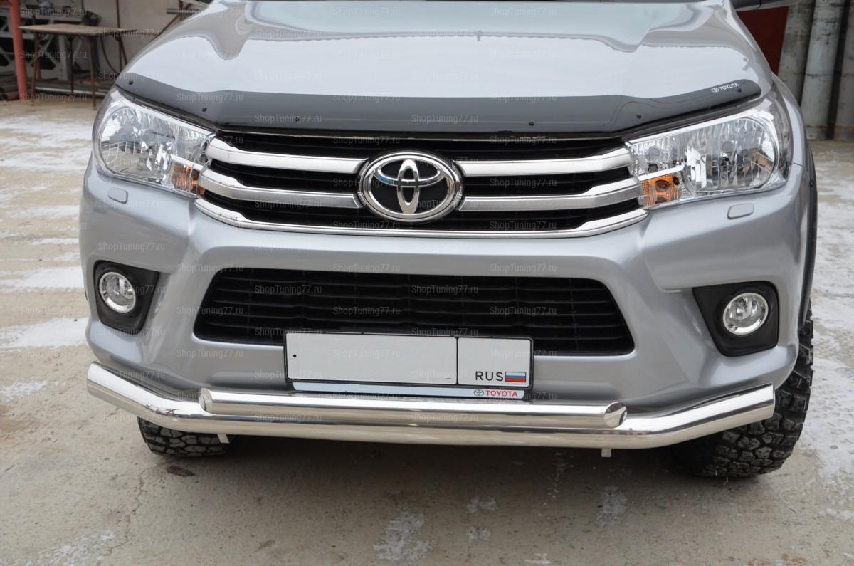Защита переднего бампера двойная 76/60 Toyota Hilux (2015-)