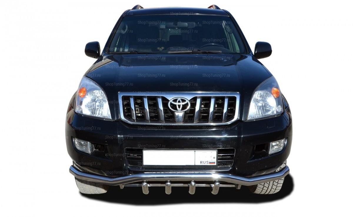Защита передняя двойная с клыками 76-60 мм Toyota Land Cruiser Prado 120