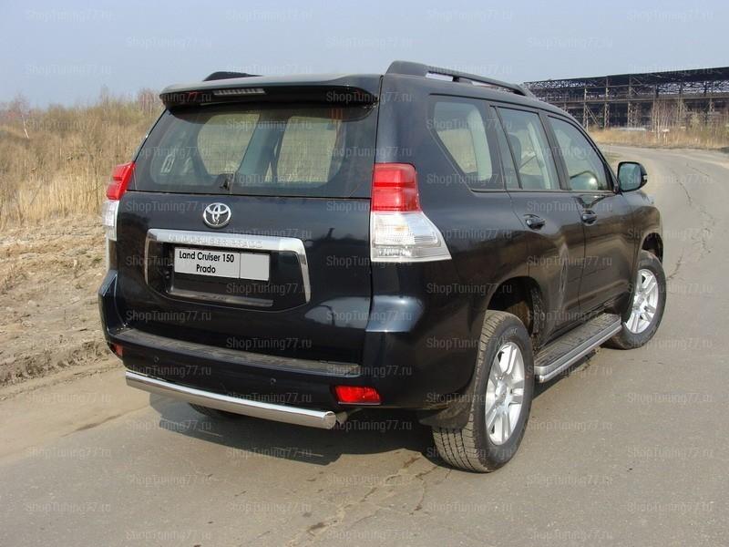 Защита задняя (центральная) 75х42 мм (Овал) Toyota Land Cruiser Prado 150 (2010-2013)