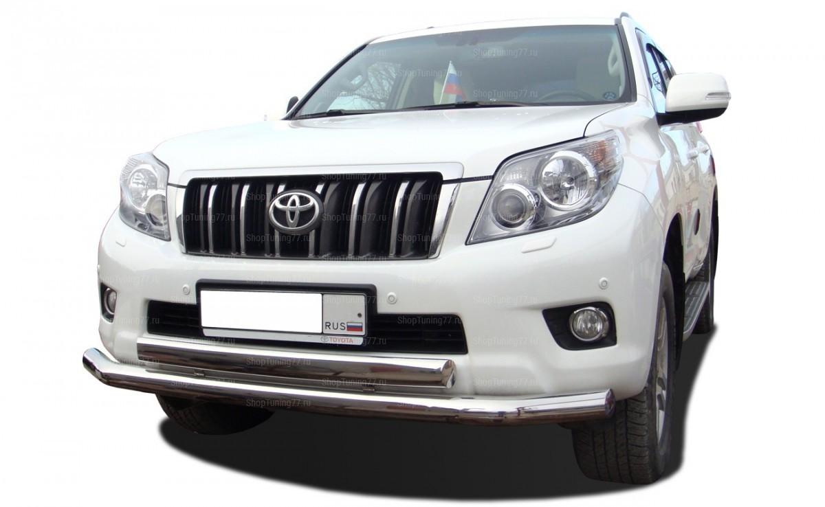 Защита переднего бампера двойная (овал) 76/75х42 мм овал Toyota Land Cruiser Prado 150 (2010-2013)
