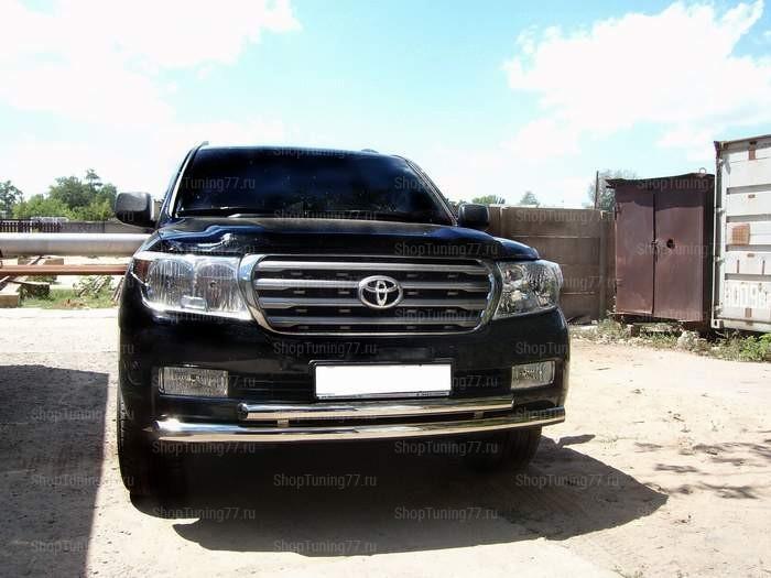 Защита переднего бампера двойная 76/60 мм Toyota Land Cruiser 200 (2012-)