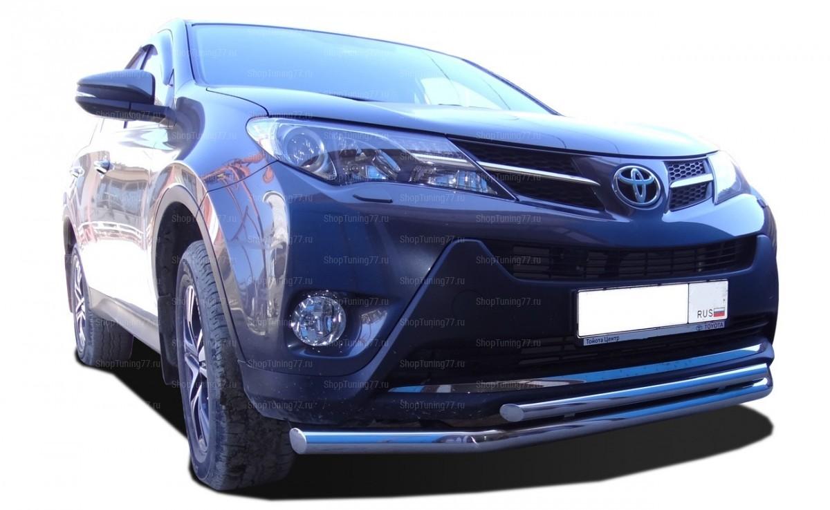 Защита переднего бампера двойная 60/42 мм Toyota RAV 4 (2013-)