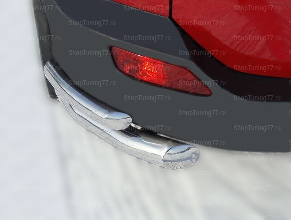 Защита заднего бампера уголки двойные 60/42 мм Toyota RAV 4 (2013-)